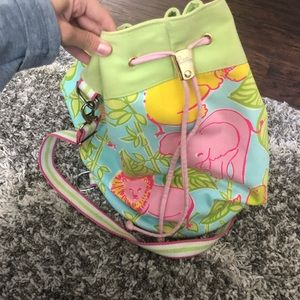 Lilly Pulitzer drawstring canvas beach bag